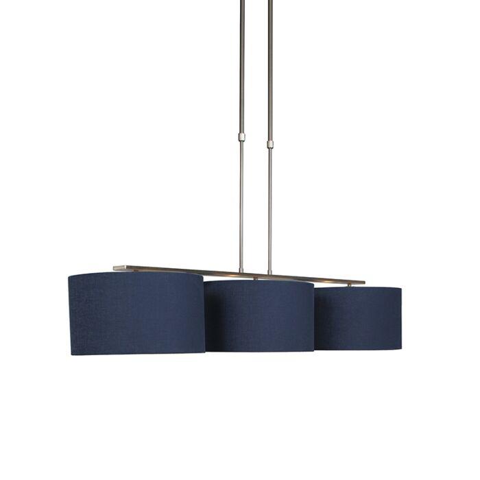 Lámpara-colgante-acero-pantalla-azul-envejecido-35cm---COMBI-3-Deluxe