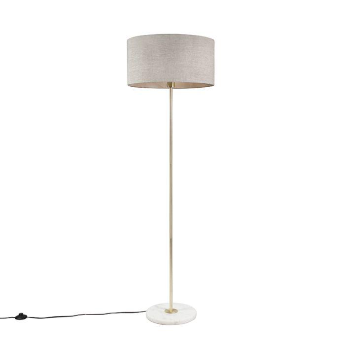 Lámpara-de-pie-de-latón-con-pantalla-gris-50-cm---Kaso