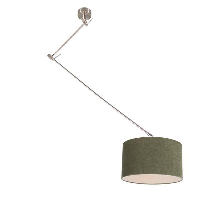 Lámpara-colgante-de-acero-con-pantalla-35-cm-verde-ajustable---Blitz-I