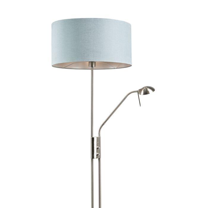 Lámpara-de-pie-acero-pantalla-azul-flexo---LUXOR