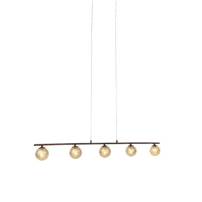 Lámpara-colgante-rústica-5-luces-óxido---KRETA