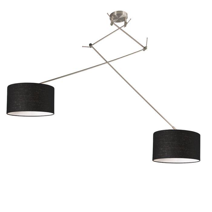Lámpara-colgante-acero-pantalla-35cm-negro-ajustable---BLITZ-II