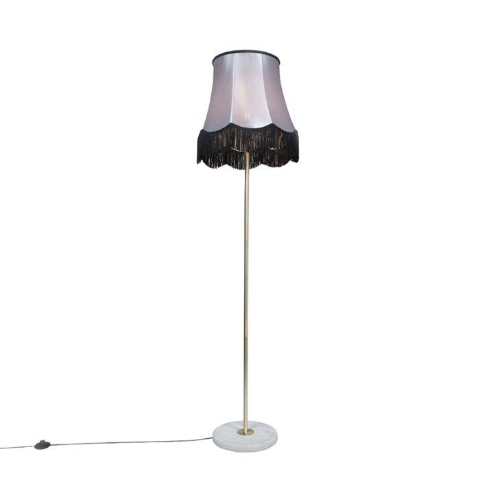 Lámpara-de-pie-latón-pantalla-GRANNY-negro-gris-45cm---KASO