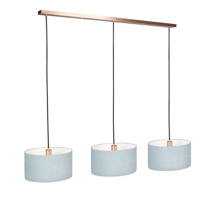 Lámpara-colgante-COMBI-3-cobre-con-pantallas-35cm-gris-azulado