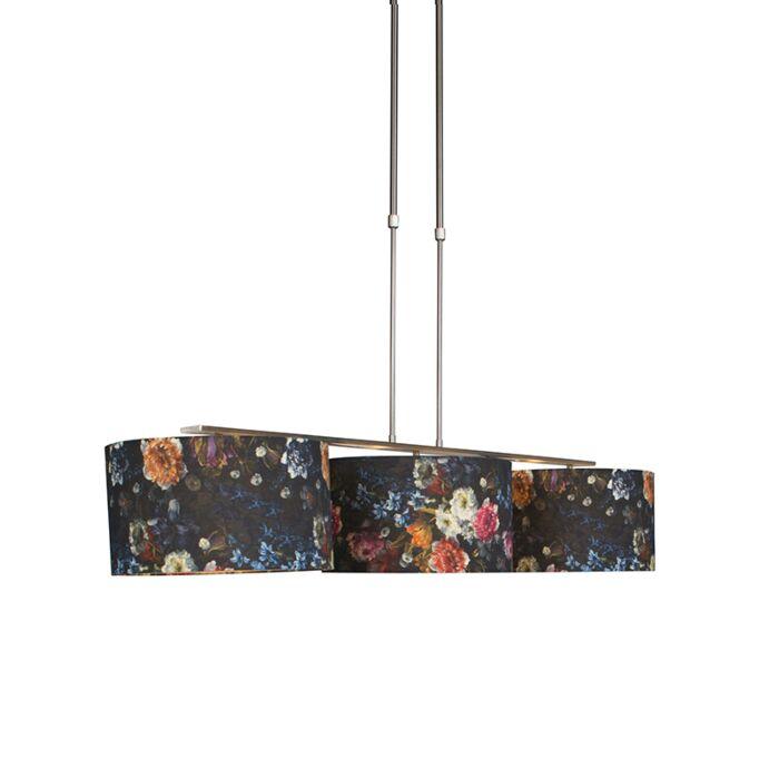 Lámpara-colgante-moderna-acero-pantalla-floral-35cm---COMBI-3-Deluxe