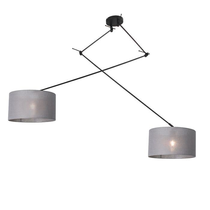 Lámpara-colgante-negra-con-pantalla-35-cm-gris-ajustable---Blitz-II