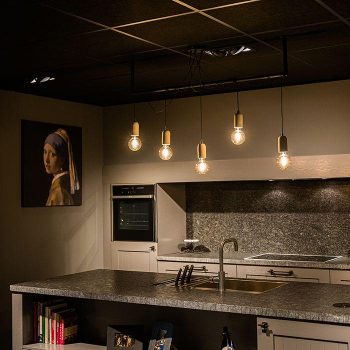 Lámpara-colgante-industrial-negra-con-hormigón-5-luces---Cavoba