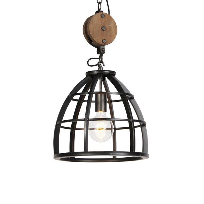 Lámpara-colgante-redonda-industrial-acero-negro-34.5-cm---Arthur