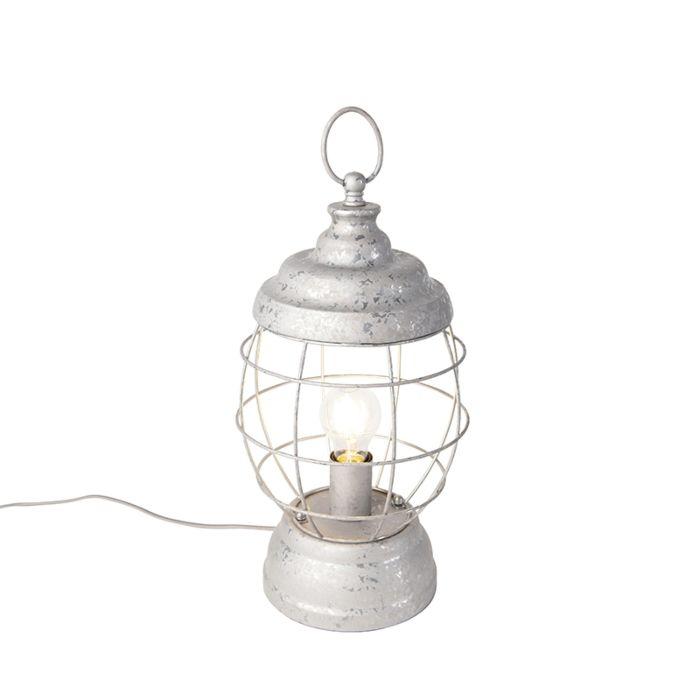 Lámpara-de-mesa-rústica-gris---LENTERA