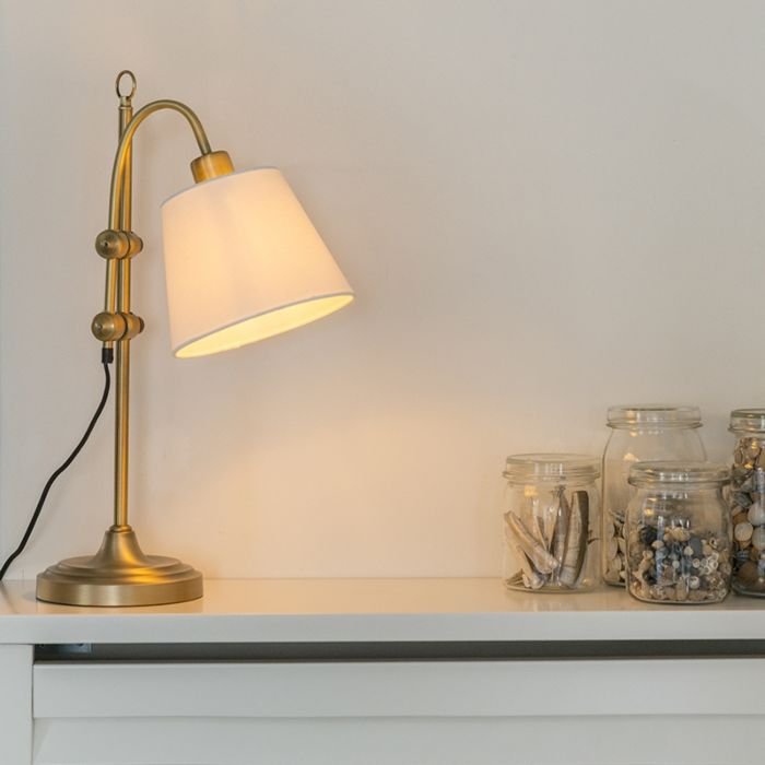 Lámpara-de-mesa-clásica-bronce-con-pantalla-blanca---ASHLEY