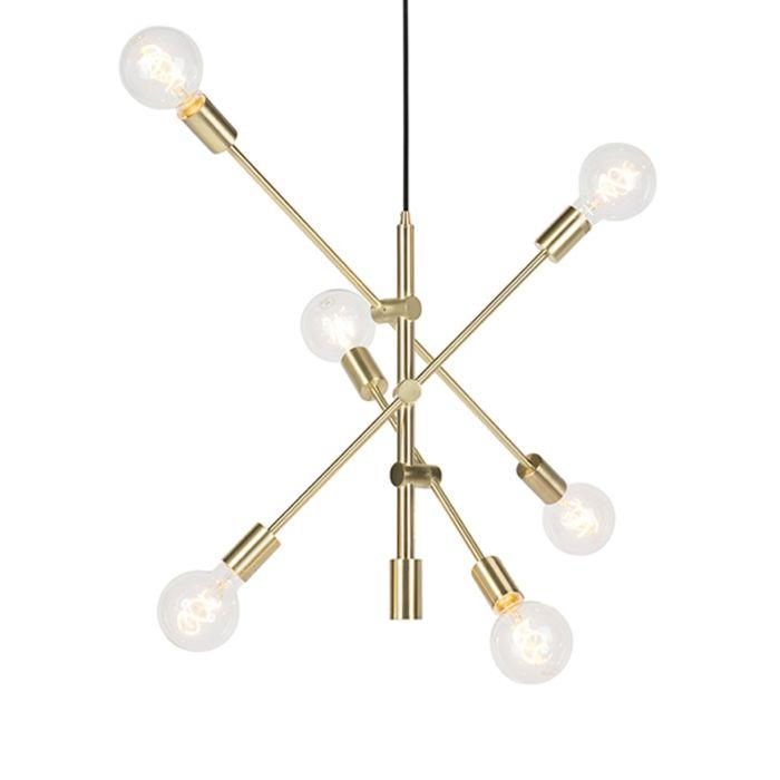Lámpara-colgante-vintage-latón-mate-6-luces---SYDNEY