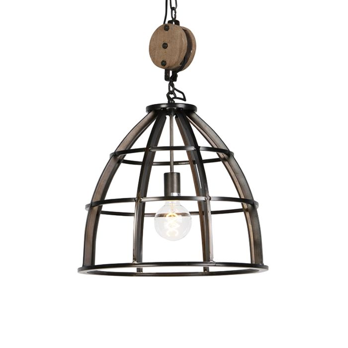Lámpara-colgante-industrial-redonda-acero-negro-48-cm---Arthur