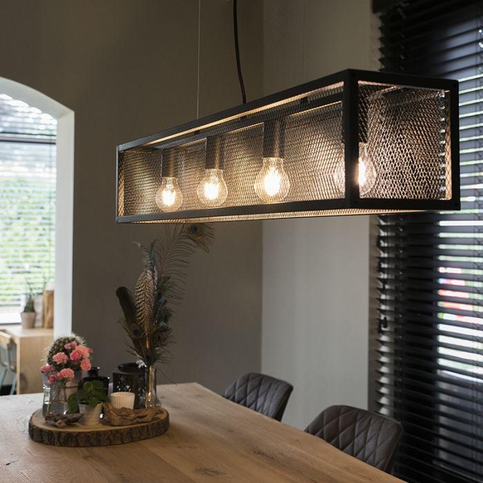 Lámpara-colgante-industrial-negra-con-malla-4-luces---Jaula