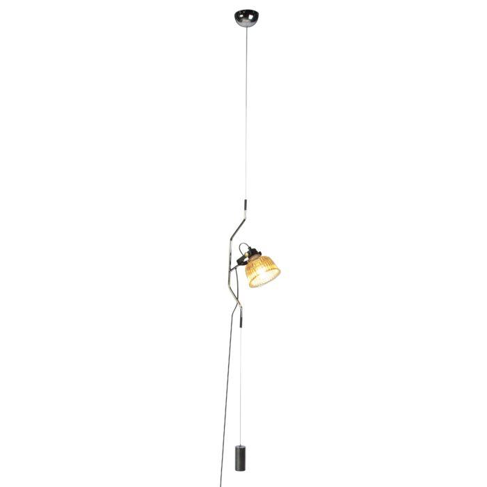 Lámpara-colgante-moderna-cromo-con-cristal-ajustable-en-altura---CONTRA