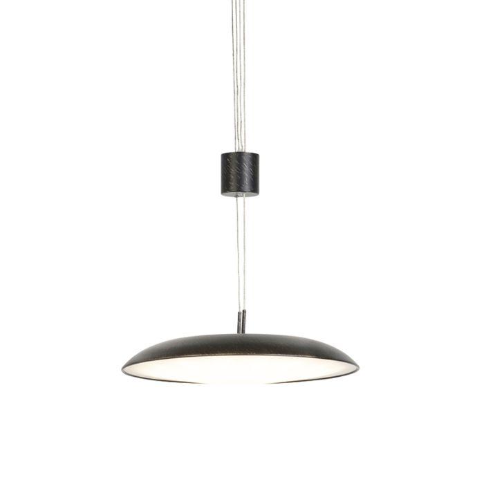 Lámpara-colgante-moderna-redonda-marrón-oscuro-con-cristal---DAXAM