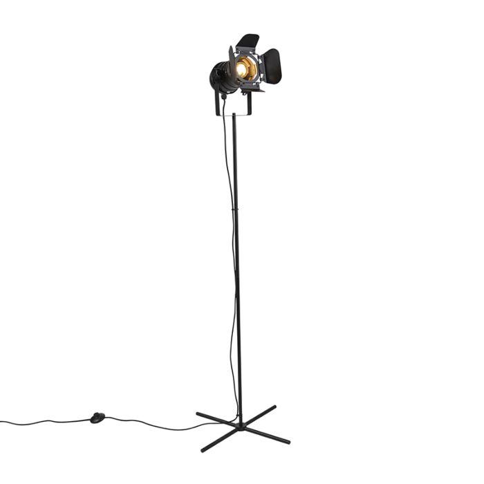 Lámpara-de-pie-industrial-de-cine-negro-E27-con-viseras---MOVIE