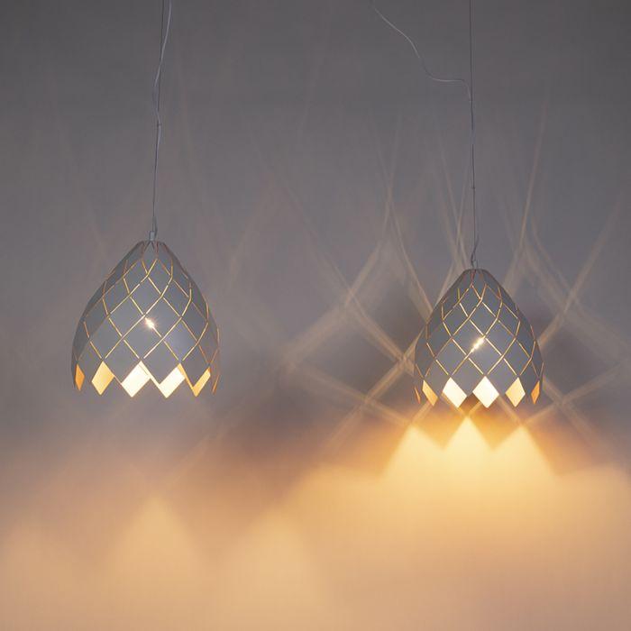 Lámpara-colgante-Art-Dèco-blanca-con-interior-dorado-2-luces---CITRINE-
