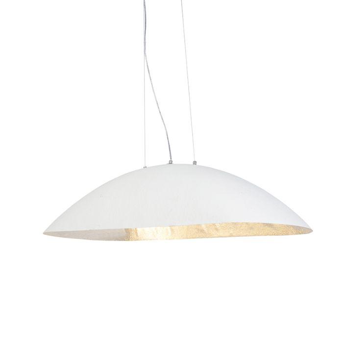 Lámpara-colgante-moderna-ovalada-blanca-con-interior-plateado-115cm---MAGNA