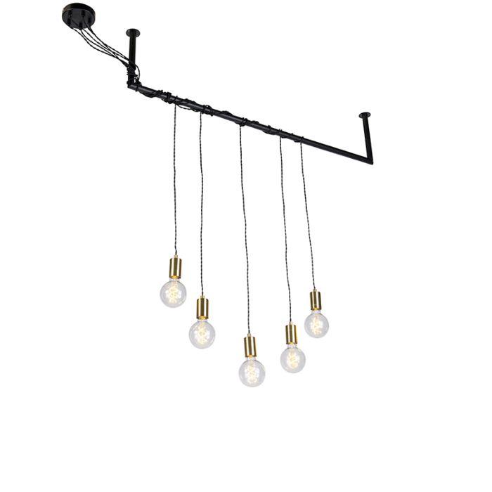 Lámpara-colgante-industrial-latón-5-luces-tubo---CAVOBA