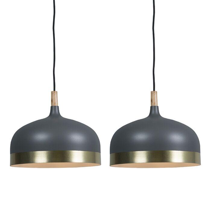 Set-de-2-lámparas-colgantes-EMPEROR-grisas-oscuro-con-latón