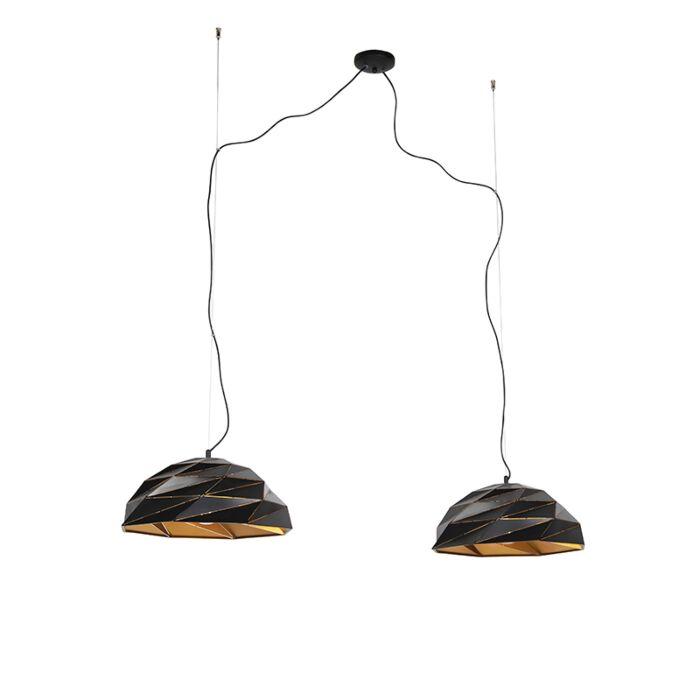 Lámpara-colgante-Art-Dèco-negra-con-interior-dorado-2-luces---LAZULI