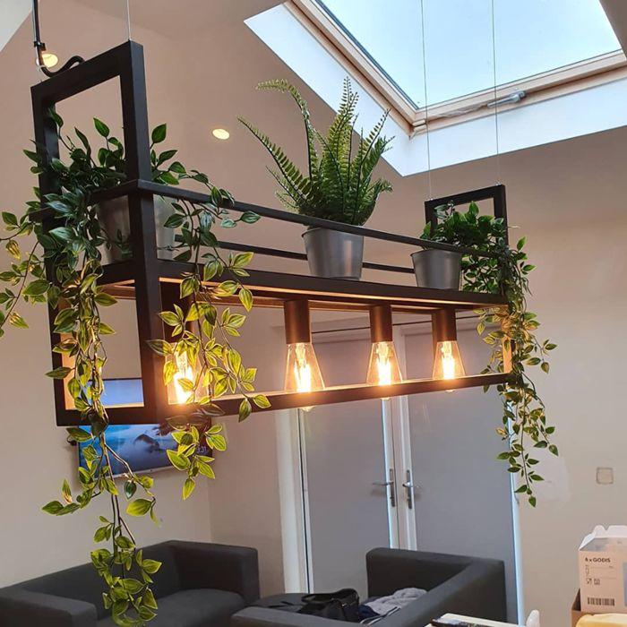 Lámpara-colgante-industrial-negra-con-estante-de-4-luces---Cage-Rack