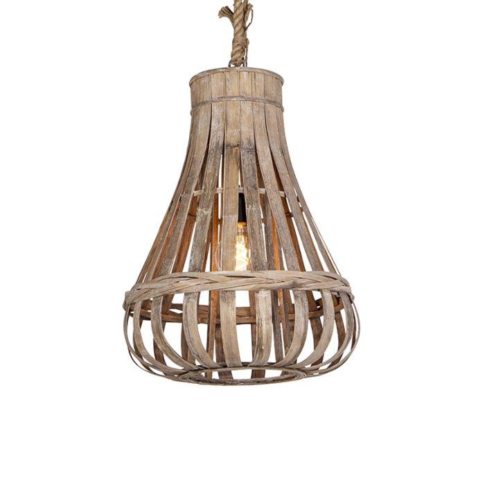 Lámpara-colgante-rústica-madera-con-cuerda-44cm---EXCALIBUR
