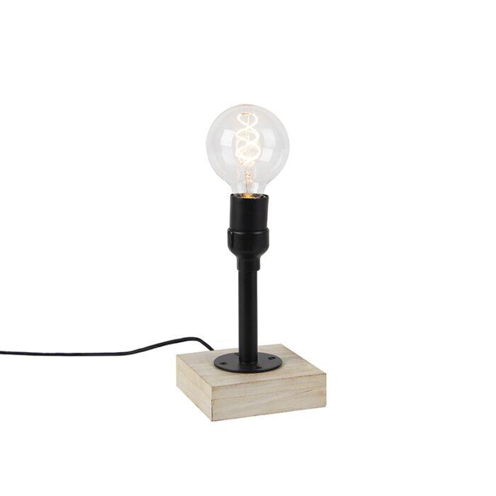 de 1 luz base con madera de negra industrial Lámpara pantalla sin mesa Tinas trshCdQx
