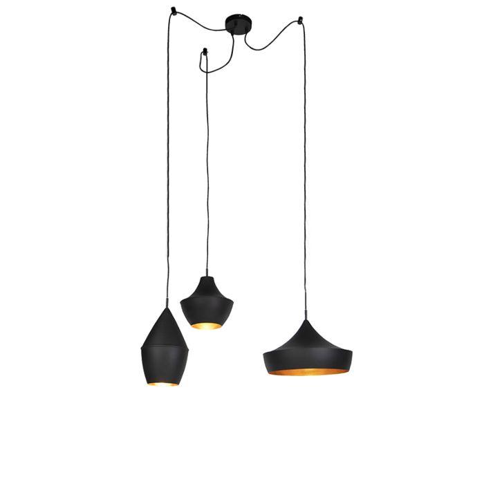 Set-3-lámparas-colgantes-nórdicas-negras/oro---DEPECHE