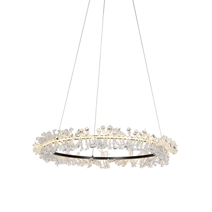 Lámpara-colgante-Art-Dèco-negra-con-cristales---ESME