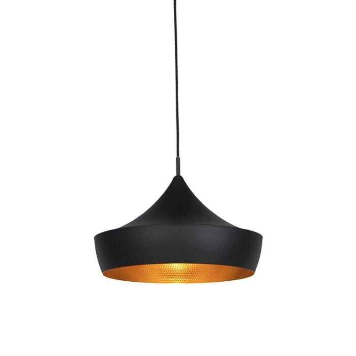 Lámpara-colgante-moderna-negra-con-interior-dorado---PAUL