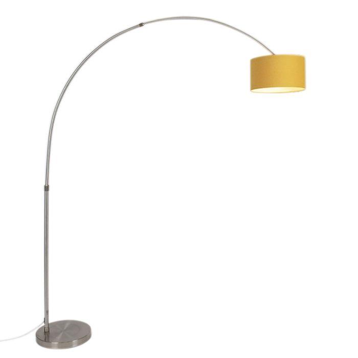 Lámpara-de-arco-moderna-acero-con-pantalla-35/35/20-cilíndrica-maíz