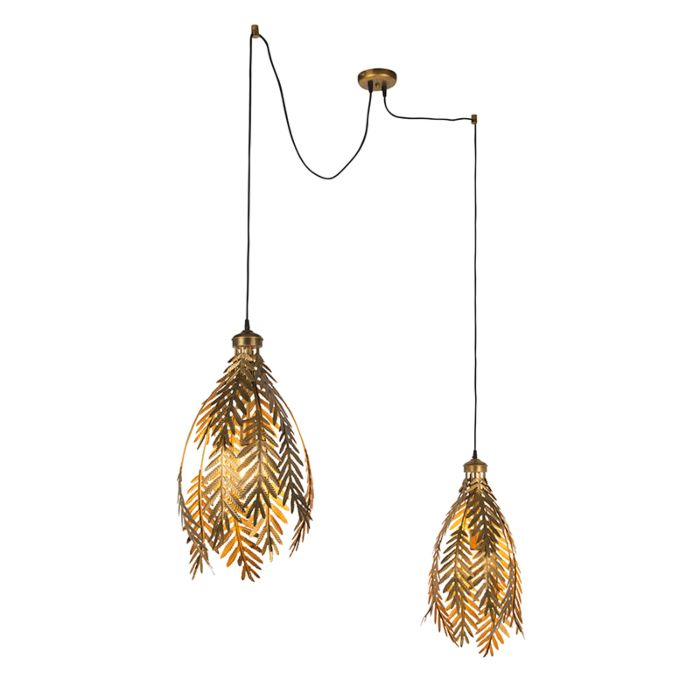 Lámpara-colgante-vintage-2-luces-oro--BOTANICA