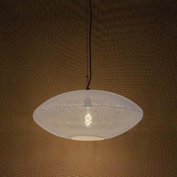 Lámpara-colgante-redonda-vintage-60cm-blanco-con-cobre---RADIANCE
