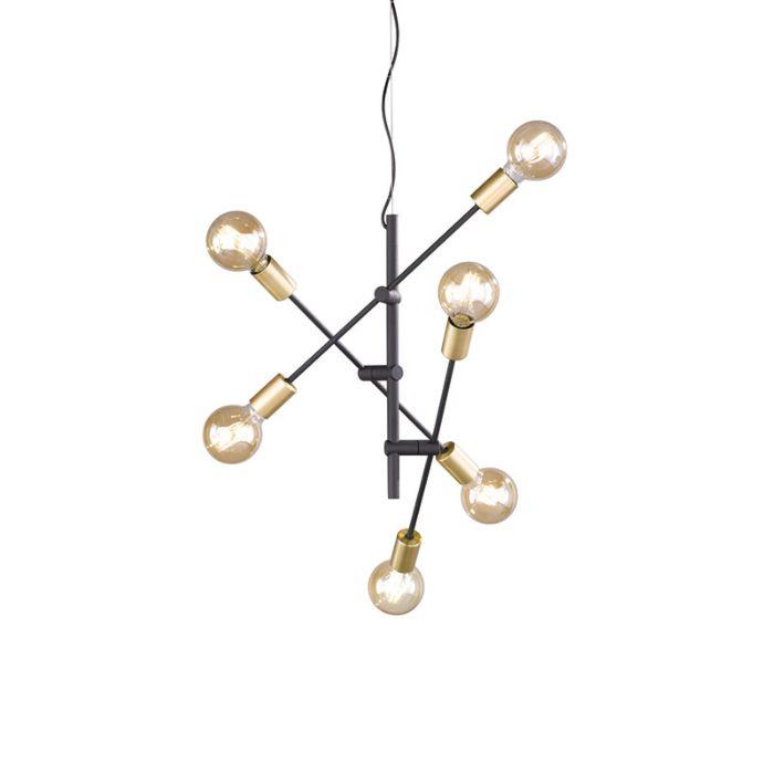Lámpara-colgante-industrial-negra-y-latón-55-cm-6-luces---Sydney