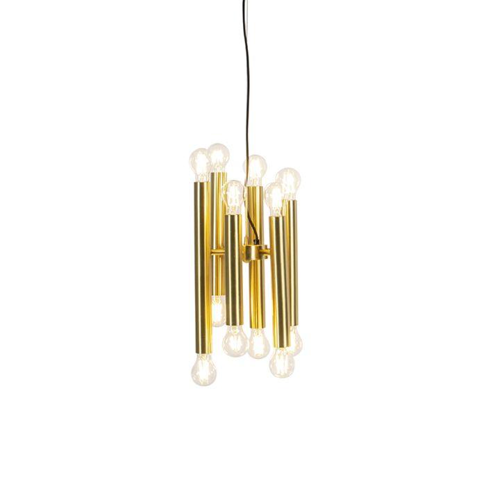 Lámpara-colgante-vintage-dorada-12-luces-con-varilla-ajustable---Facil