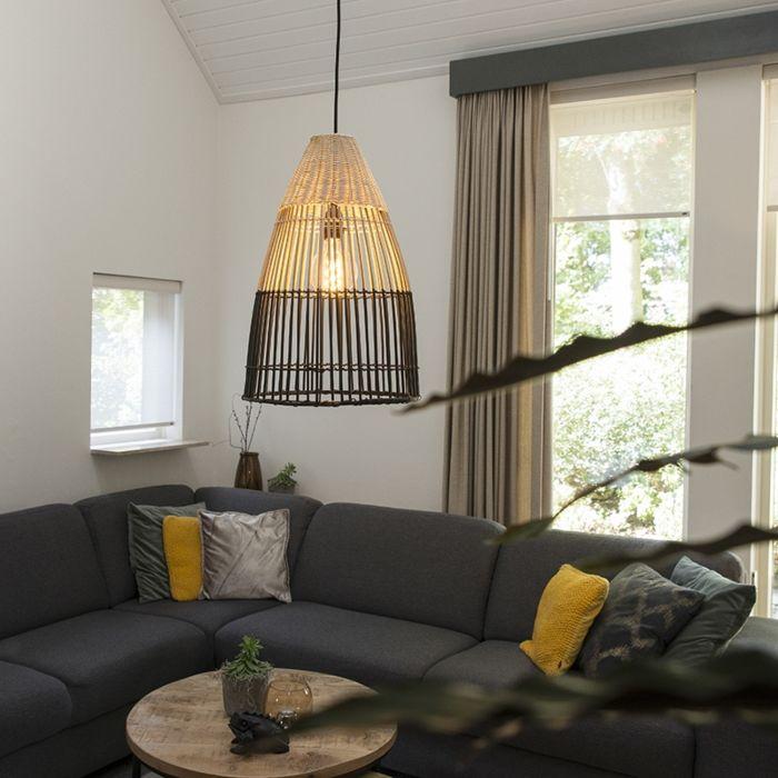Lámpara-colgante-Art-Déco-bambú-con-negro---BAMBOO