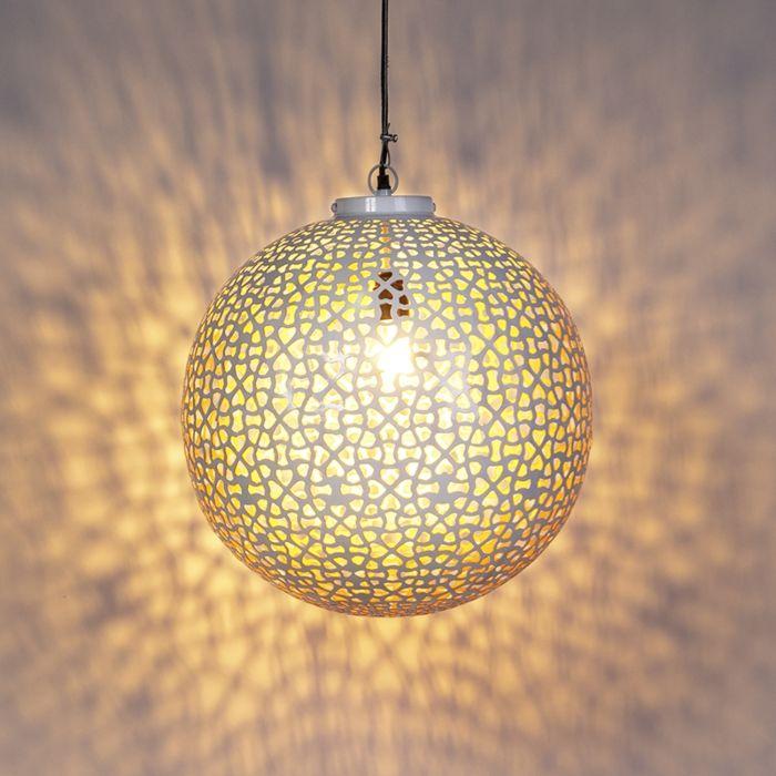 Lámpara-colgante-redonda-vintage-45-blanca-cobre---RADIANTE