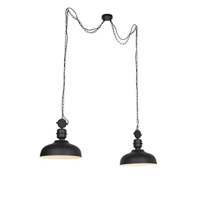 Lámpara-colgante-industrial-negra-con-cadenas---SANI