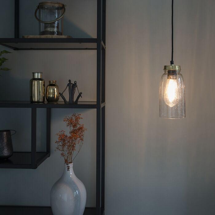 Lámpara-colgante-vintage-oro-con-cristal-transparente---MASONS