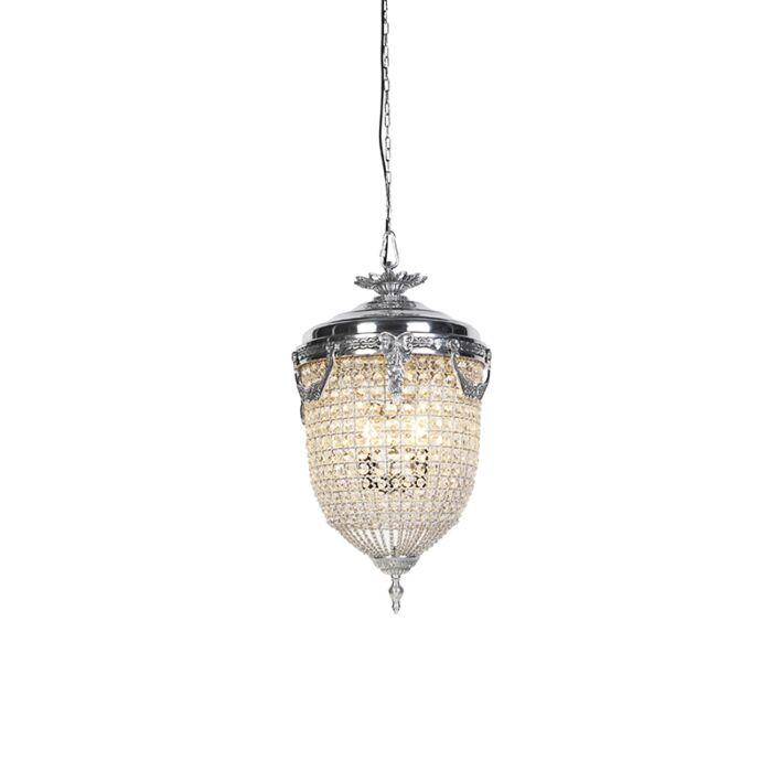 Lámpara-colgante-Art-Dèco-40cm-cristal---plateada---CESAR-