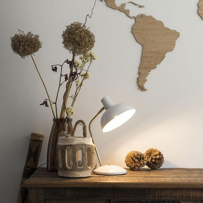Lámpara-de-mesa-retro-blanca-con-bronce---Milou