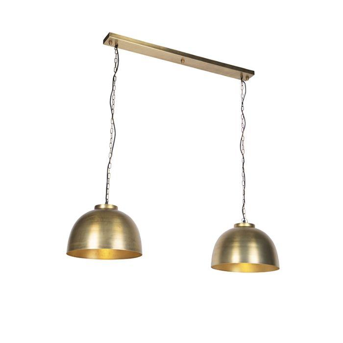 Lámpara-colgante-industrial-latón-envejecido-2-luces---HOODI-