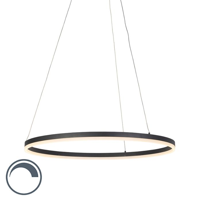 Lámpara-colgante-moderna-negra-80cm-LED-regulador---ANELLO