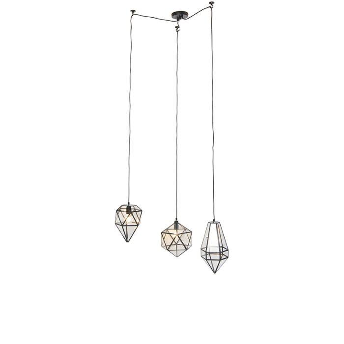 Lámpara-colgante-vintage-negra-con-cristal-transparente-3-luces---Scone