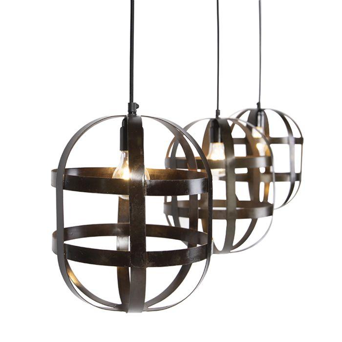 Lámpara-colgante-ovalada-acero-oscurecido-3-luces---FENCE
