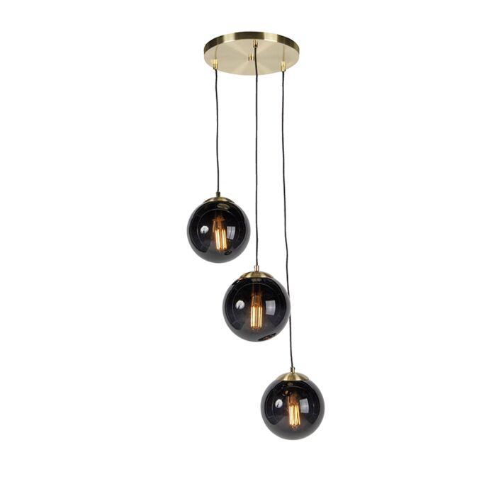 Lámpara-colgante-art-deco-de-latón-con-cristal-negro-3-luces---Pallon