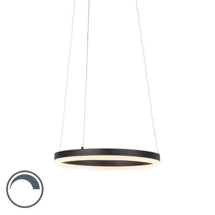 Lámpara-colgante-moderna-anilla-negra-40-cm-con-LED-y-dimmer---Anello