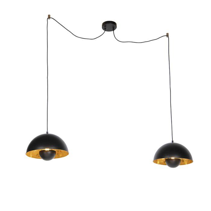 Lámparas-colgantes-industriales-negras-con-oro-2-luces---Magna-Eglip