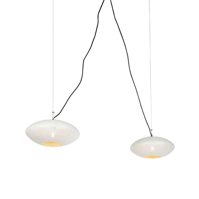 Lámpara-colgante-redonda-vintage-40cm-2-luces-blanco-con-cobre---RADIANCE